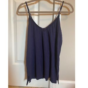 Navy Blue Lace Trim Tank Top